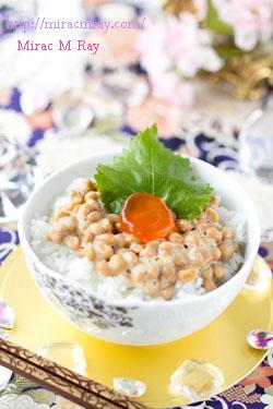 卵黄の醤油漬け納豆ご飯