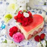 ハート型フレジエ風苺のチーズカスタードクリームケーキ