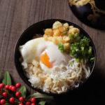 釜揚げしらすと揚げ玉の温泉卵かけご飯【レシピ】