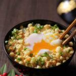 揚げ玉温泉卵かけご飯【レシピ】