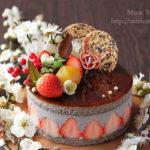 苺&黒胡麻と豆腐のムースケーキ