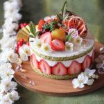和風苺、抹茶と柚子のチーズムースケーキ