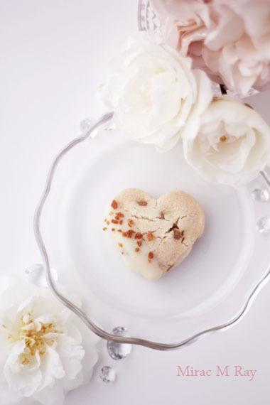 ハート形ホワイトチョコがけキャラメルチョコチップちんすこう