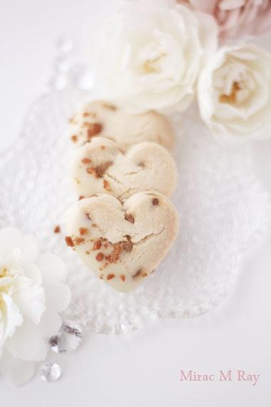 ハート形ホワイトチョコがけキャラメルチョコチップちんすこうレシピ