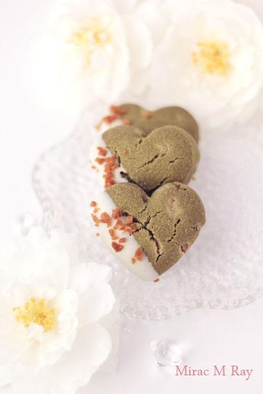 ハート形ホワイトチョコがけ抹茶&ホワイトチョコチップちんすこう レシピ