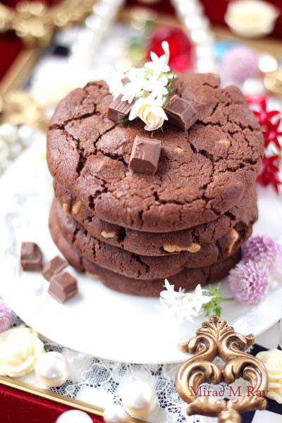 【レシピ】ねっちり強めしっとりやわらかアメリカンクッキー胡桃&ダブルチョコレート-