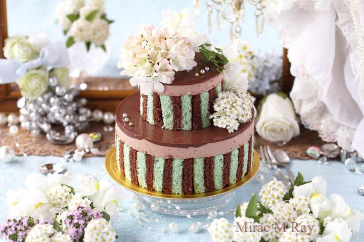ミントグリーン×ブラウンストライプ2段チョコレートカスタードババロアケーキ・アントルメ