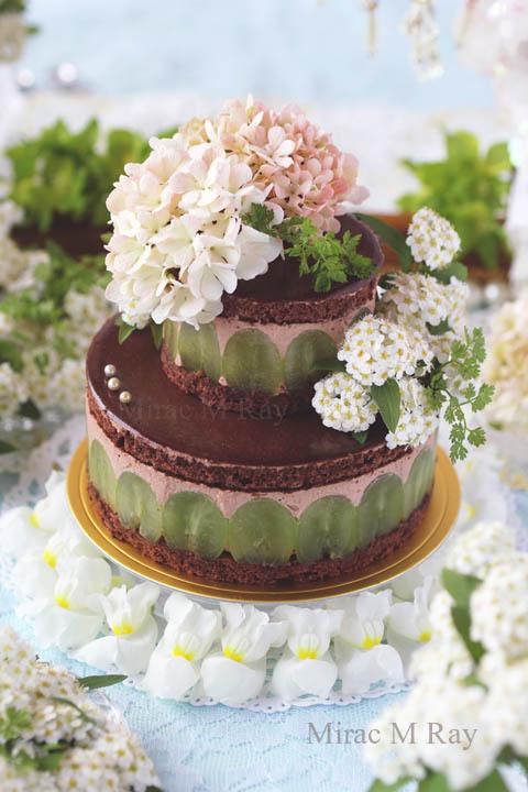 葡萄とラム香るチョコレートカスタードババロア2段ケーキ・アントルメ