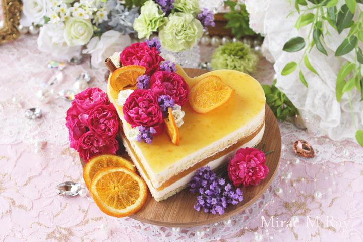 ハートオレンジカスタードババロアアントルメ・ケーキ