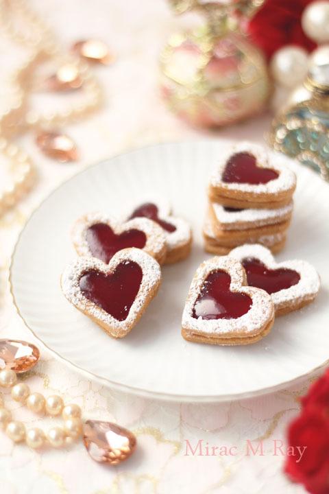 【レシピ】小さなリンツァークッキー(ラズベリージャムサンドクッキーver) ハート形